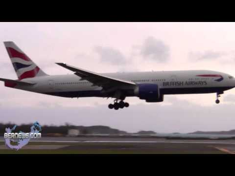 British Airways Lands During High Winds,  Sept 9 2012