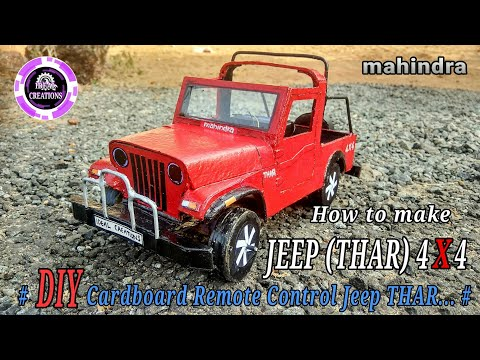 How to make car | mahindra Jeep (THAR) | DIY Cardboard RC Jeep | Electric toy | Very easy.