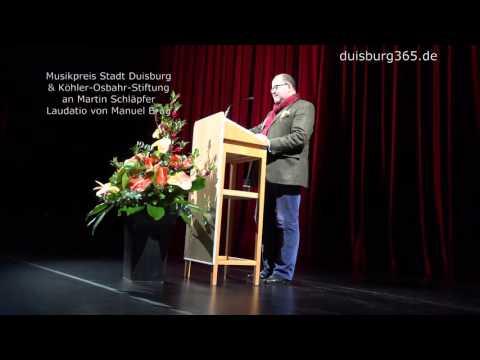 Stadt Duisburg + Koehler Osbahr Stiftung Musikpreis an Martin Schlaepfer   Laudator Manuel Brug
