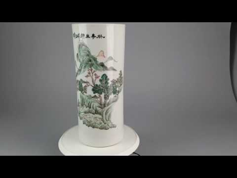Antique Chinese Hatstand vase. Landscape with Traveller. Ca 1900 Late Qing or Republic