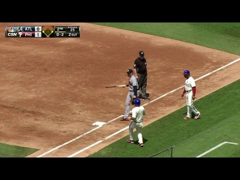 ATL@PHI: Morgan loses his grip, bat goes flying