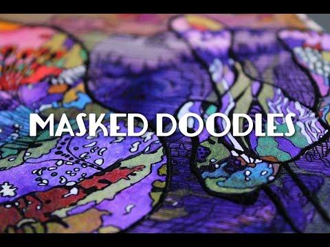 art journaling : masked doodle
