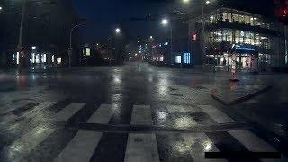 Jízda nočním městem za bouřky (nesestříháno)