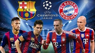 Barcelona vs bayern munich semifinal da champions league 06/05/2015. o jogo na vida real terminou 3 x com 2 gols de messi e 1 gol d...
