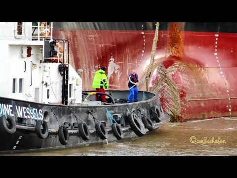 chem tanker MTM GIBRALTAR 9V9575 IMO 9282924 timelapse exit Emden sealock with 2 tugs cargo seaship