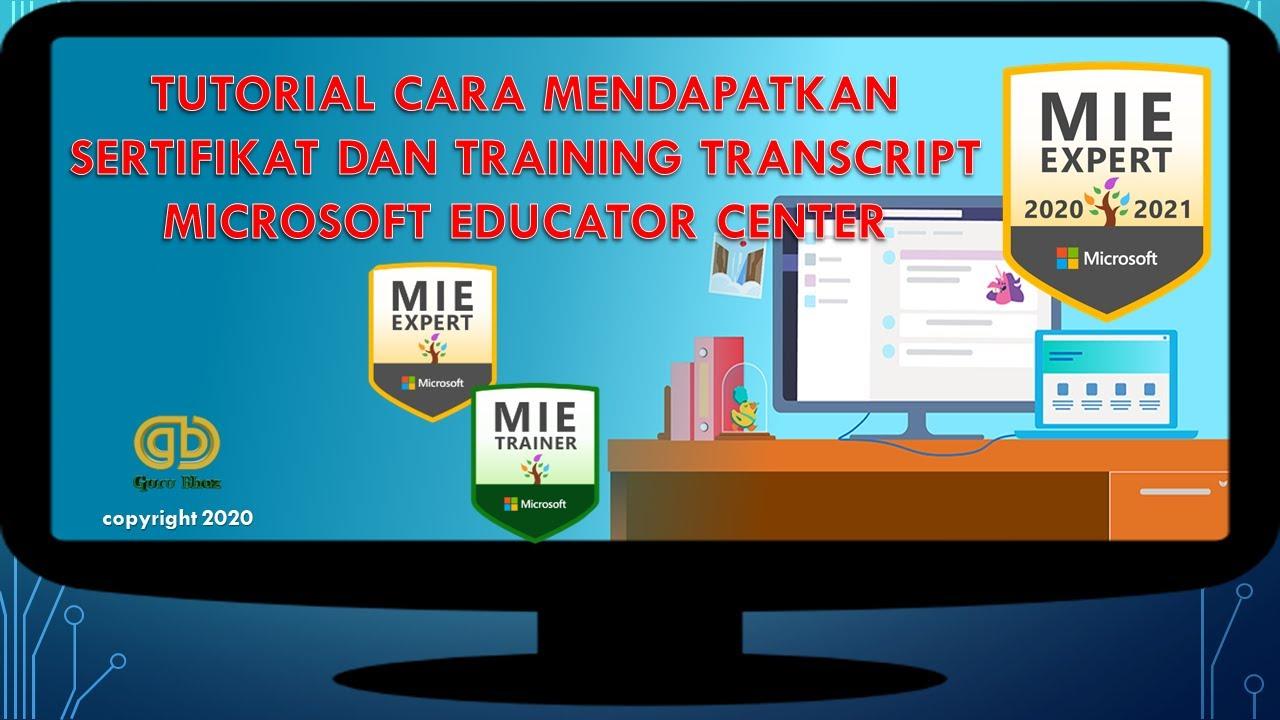 Cara Mendapatkan Sertifikat Dan Training Transcript Microsoft Educator Center Microsoft Office 365 Youtube