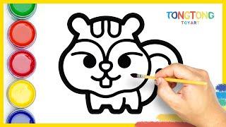 Cute Chipmunk & Coloring easy step by step Surprise Eggs