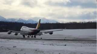 Asiana Cargo Boeing 747 landing Anchorage Airport, Alaska