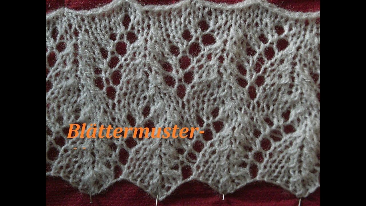 Ajourmuster Blättermuster 01* Stricken*Muster für Pullover*Mütze ...