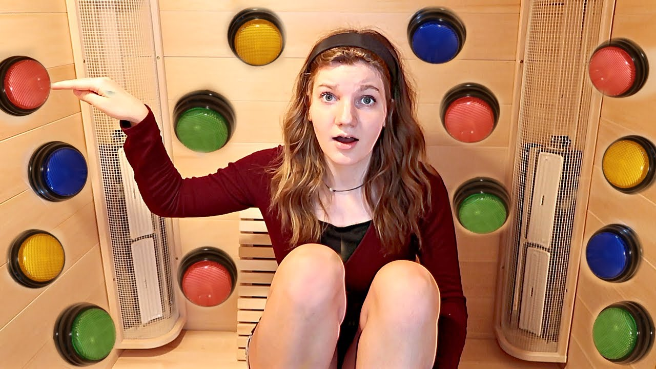 100 MYSTERY BUTTONS...only ONE lets me escape the SAUNA! | Match Up