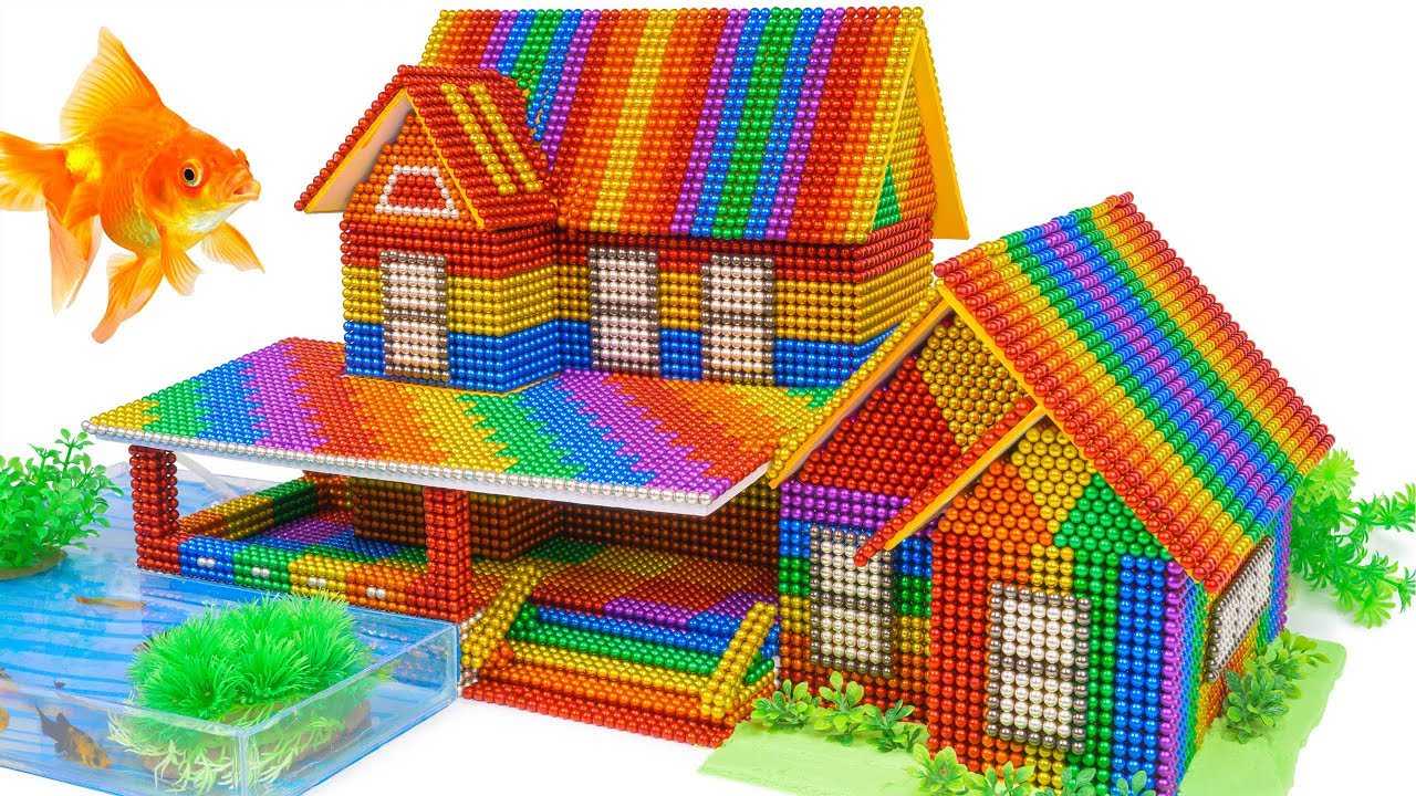 Download DIY - Build Villa With Fish Pond And Garden From Magnetic Balls (Satisfying) - Magnet Balls