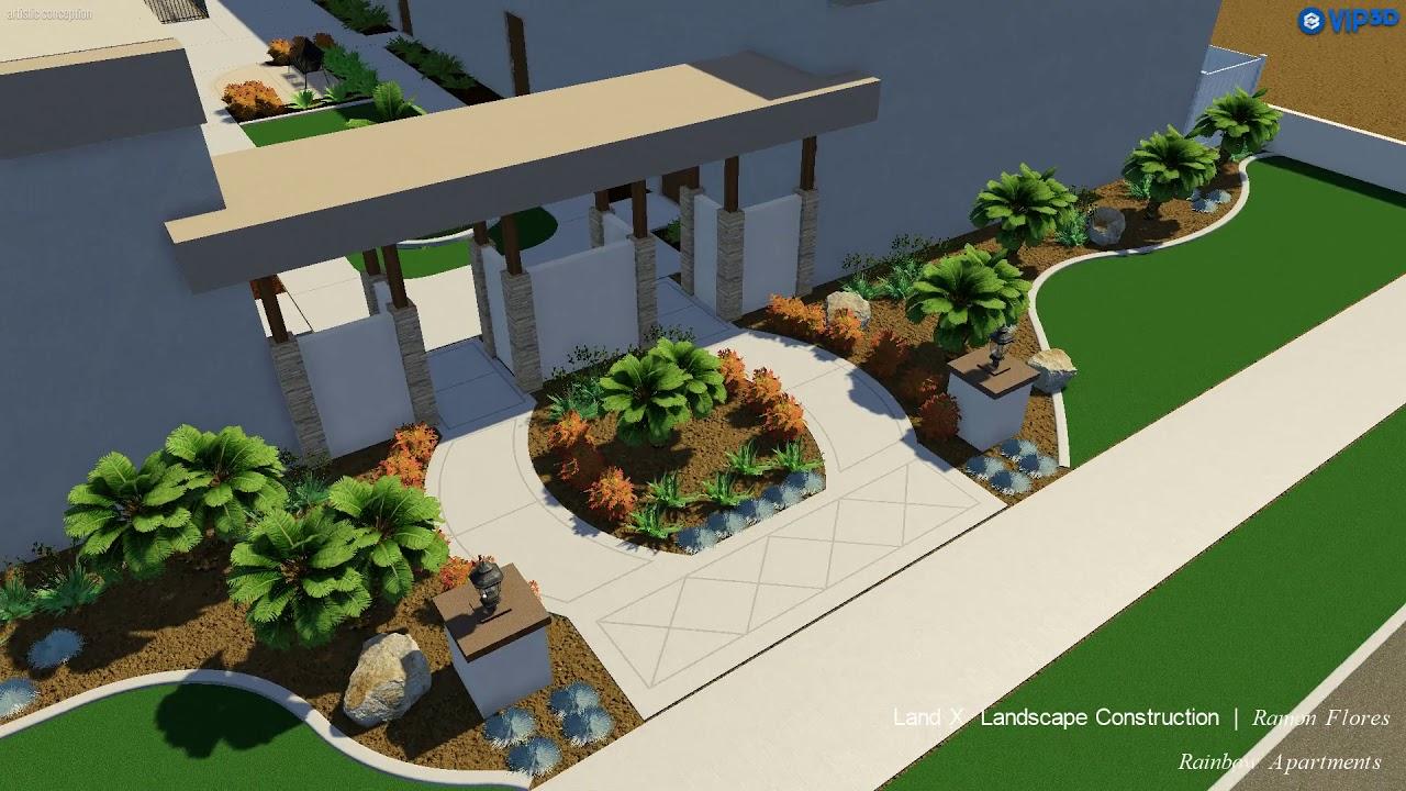 Landscape Design For Rainbow Garden Apartment Complex By Land X Landscape Construction Youtube