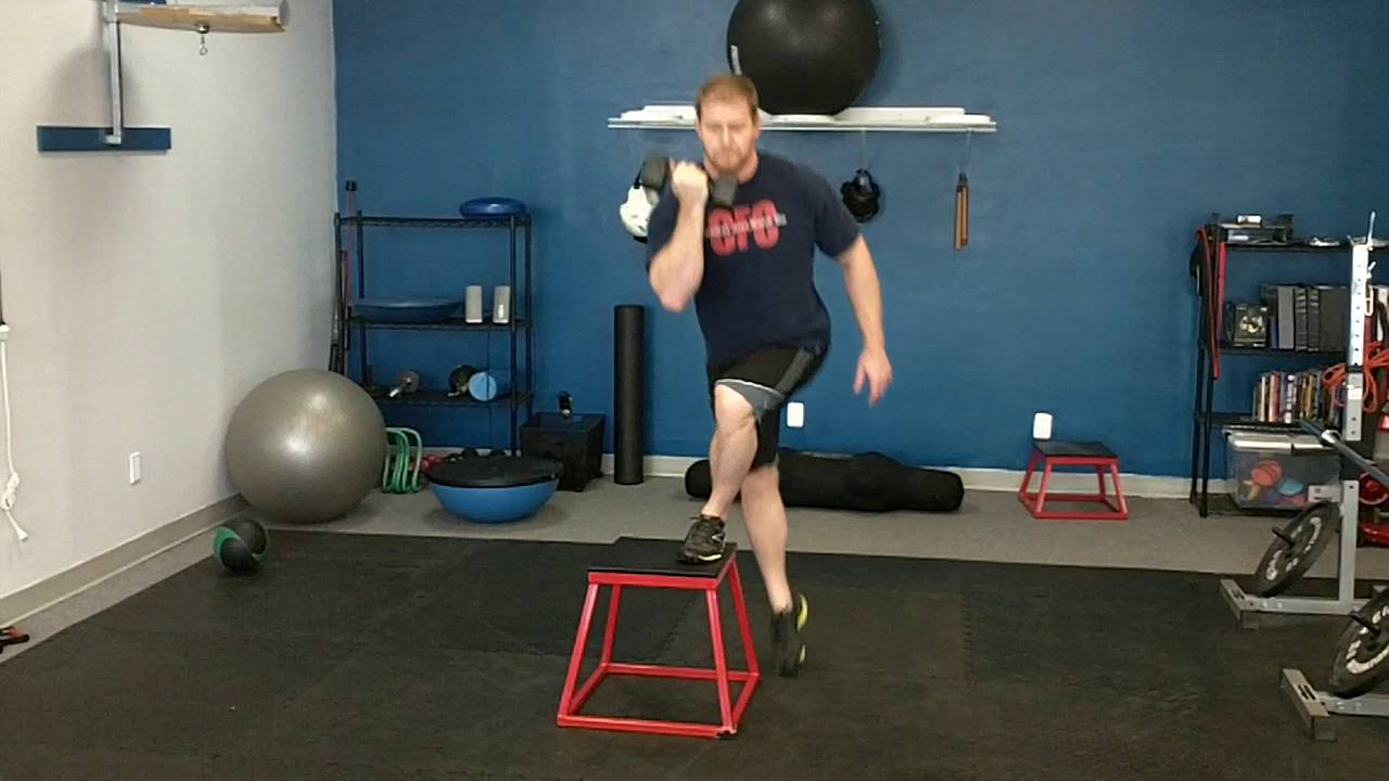 Cross Lateral step ups to Box with Weight - YouTube