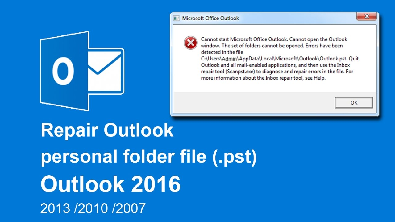 How to repair Outlook Data Files ( pst) in Outlook 2016 / 2013 / 2010 / 2007