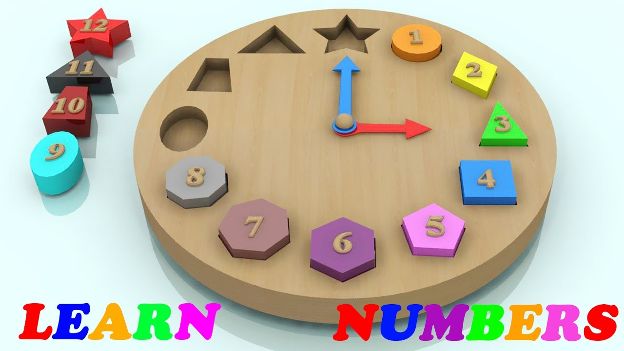 Learn Colors And Number With Wooden Shape Sorting Clock
