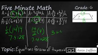 6th Grade Math Different Equations for Area of a Trapezoid