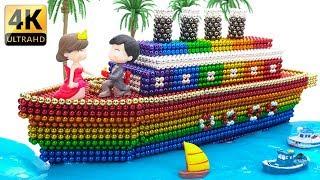 Manyetik Topları İle Gökkuşağı Titanic Gemisi Nasıl DİY - - ASMR 4K - Mıknatıs Topları