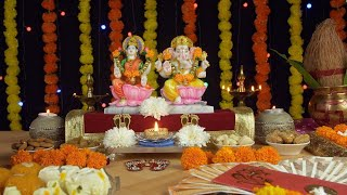 Moving shot of Lord Ganesha and Goddess Lakshmi on the festival of Diwali/Dipavali
