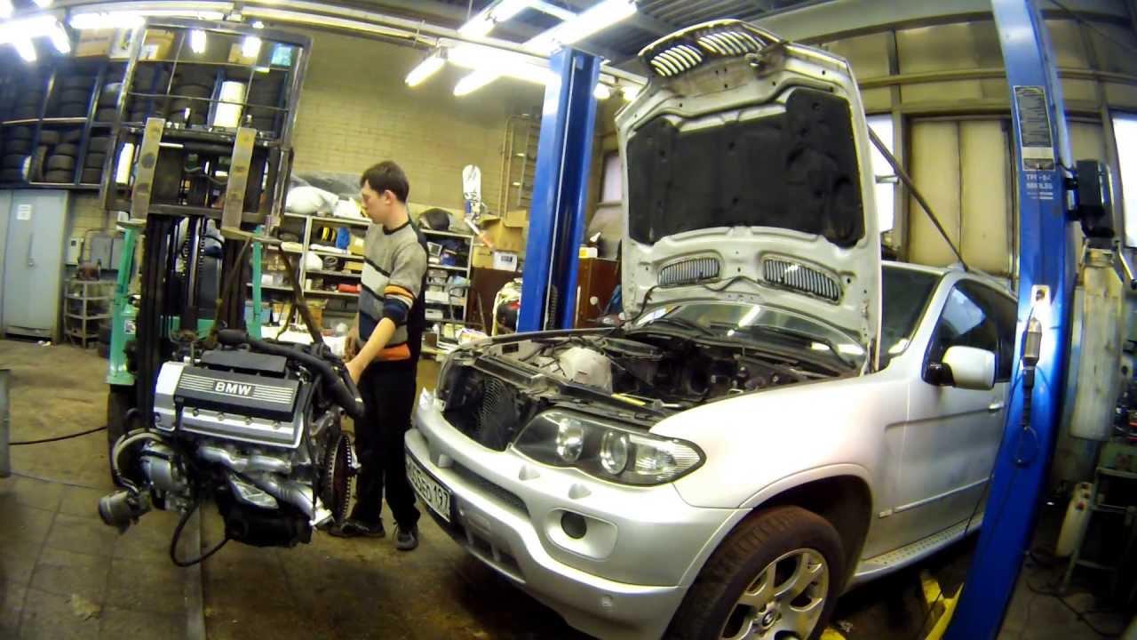 Установка двигателя BMW X5 m62b44