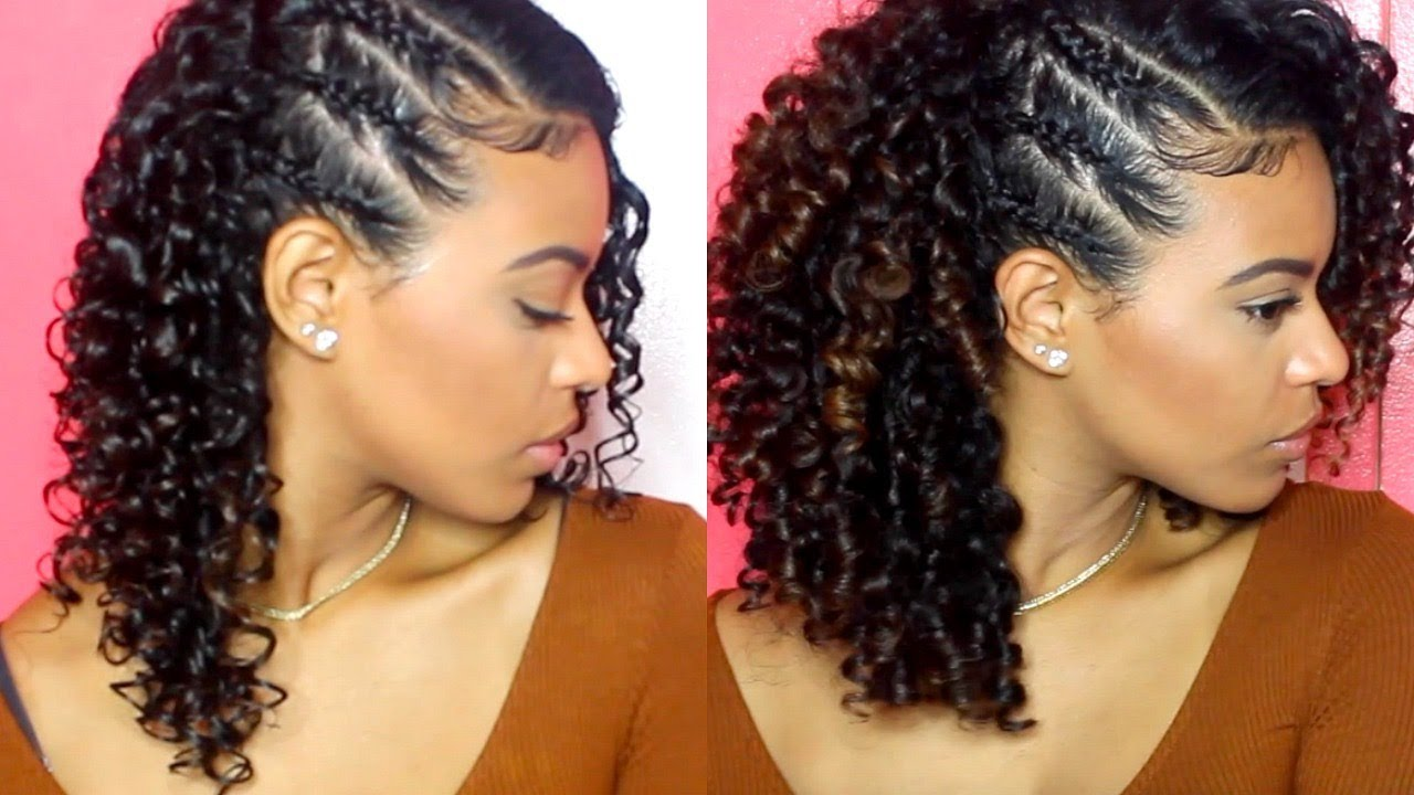 chelliscurls   wash & go with 3 side braids