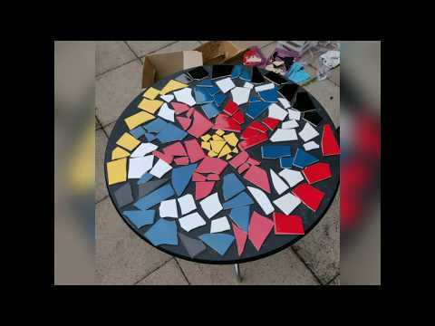 How to make a mosaic table top with ceramic tiles and epoxy resin