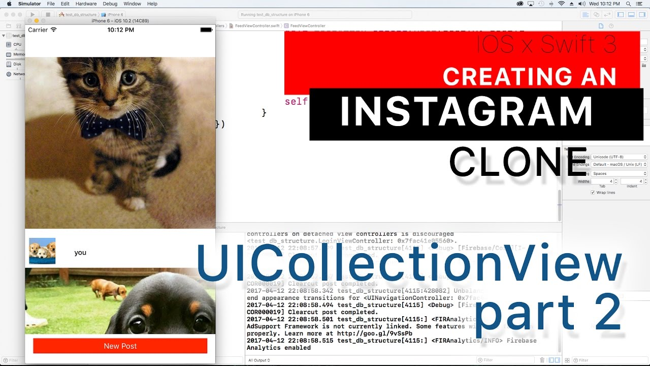 Instagram Clone part 30: Loading a Collection view from Firebase