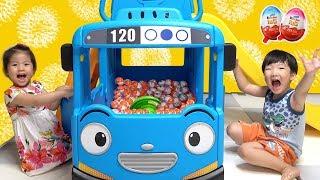 미끄럼틀은 너무 재밌어요!! 서은이의 타요 헬로키티 스쿨버스 미끄럼틀 킨더조이 초콜릿 Tayo Hello Kitty School Bus Slide and Kinderjoy