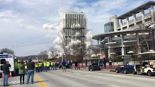connectYoutube - Crowds watch as tallest building in Kentucky's capital is demolished