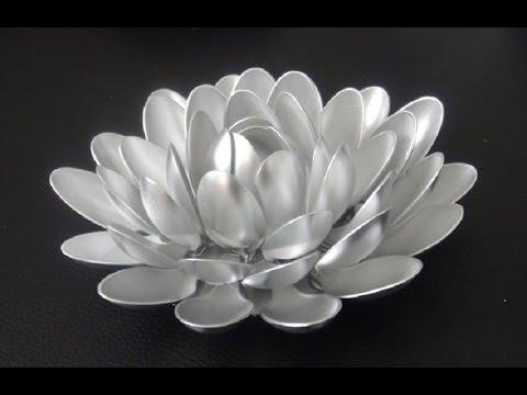 Recycled Plastic Spoon Lotus Flower Diy Youtube
