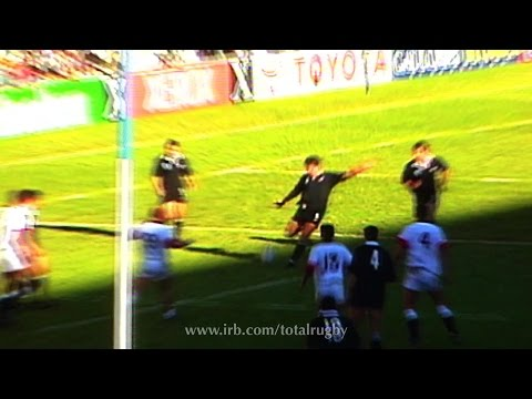 Zinzan Brooke's iconic drop goal from Rugby World Cup 1995 for the All Blacks