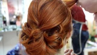 Prom, bridal hairstyle for medium long hair. Вечерняя прическа, прическа на выпускной.