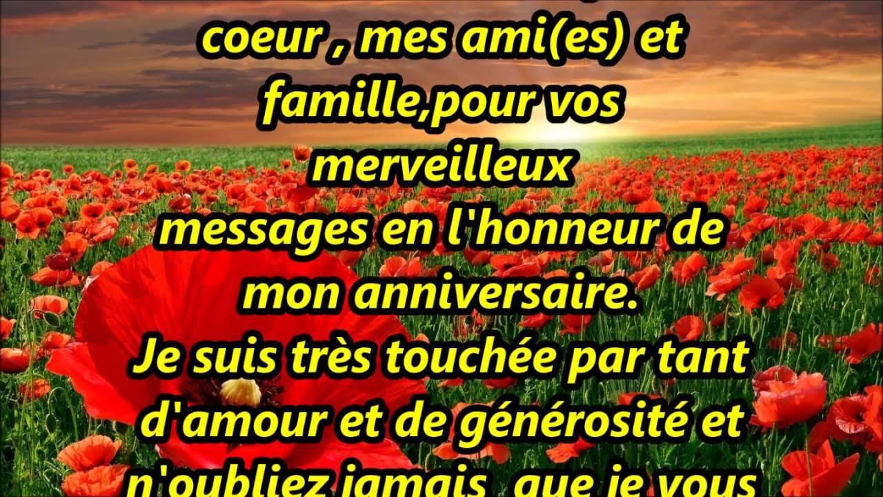 Message De Remerciement Pour Anniversaire