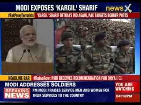 Prime Minister Narendra Modi addressing troops of Army