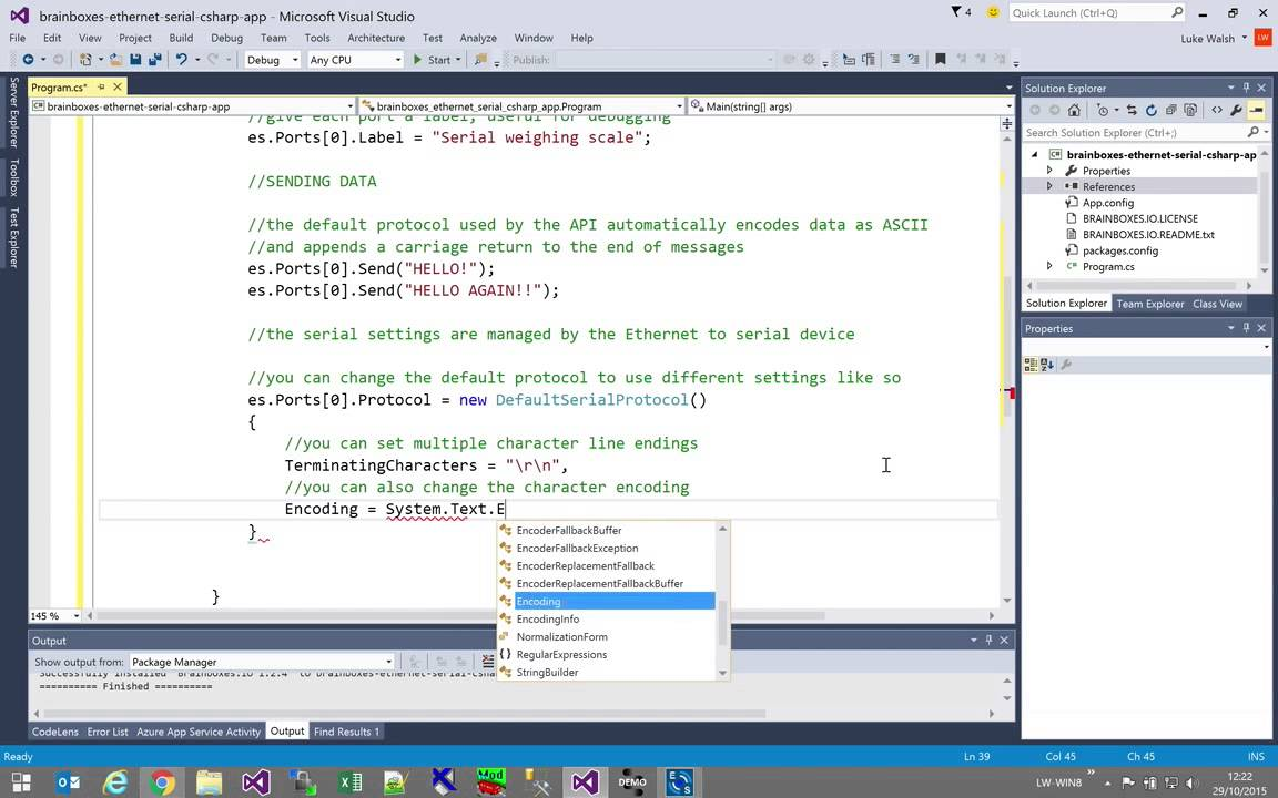 How do I use C# to control my Ethernet to Serial device