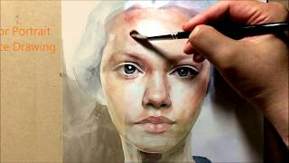 LV. 1   Watercolor Portrait  Female Face Drawing Tuterial 인물수채화