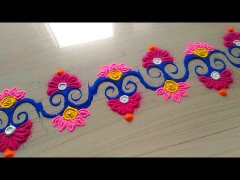 How to make easy and simple/unique border rangoli designs by Jyoti Rathod,rangoli,festival rangoli d
