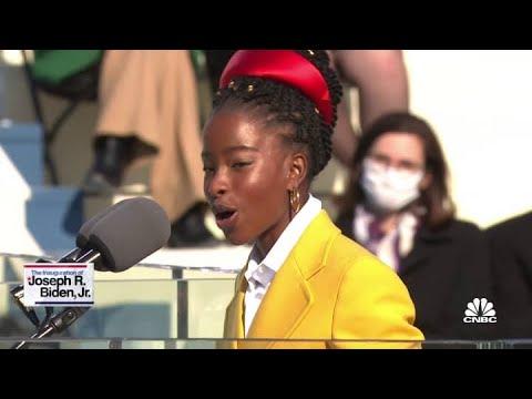 Inaugural poet Amanda Gorman delivers a poem at Joe Biden's inauguration