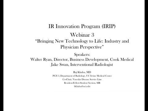 SIR-RFS Webinar (6/11/15): IR Innovation Pathway: Webinar 3 - Bringing New Technology to Life thumbnail
