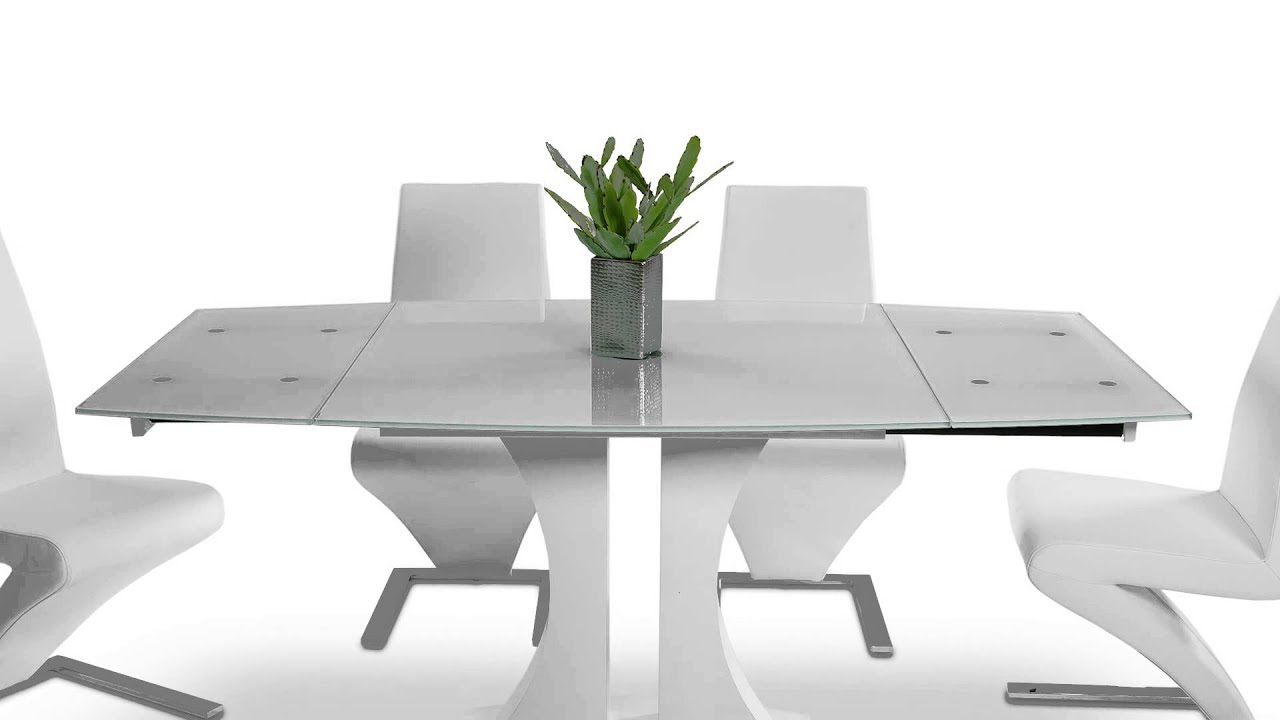White modern dining table - Split Modern White Extend Able Dining Table Vggu2331xt Wht Youtube