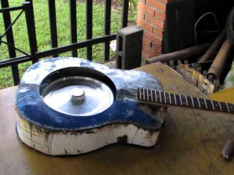 metal resonator guitar made from steel drum