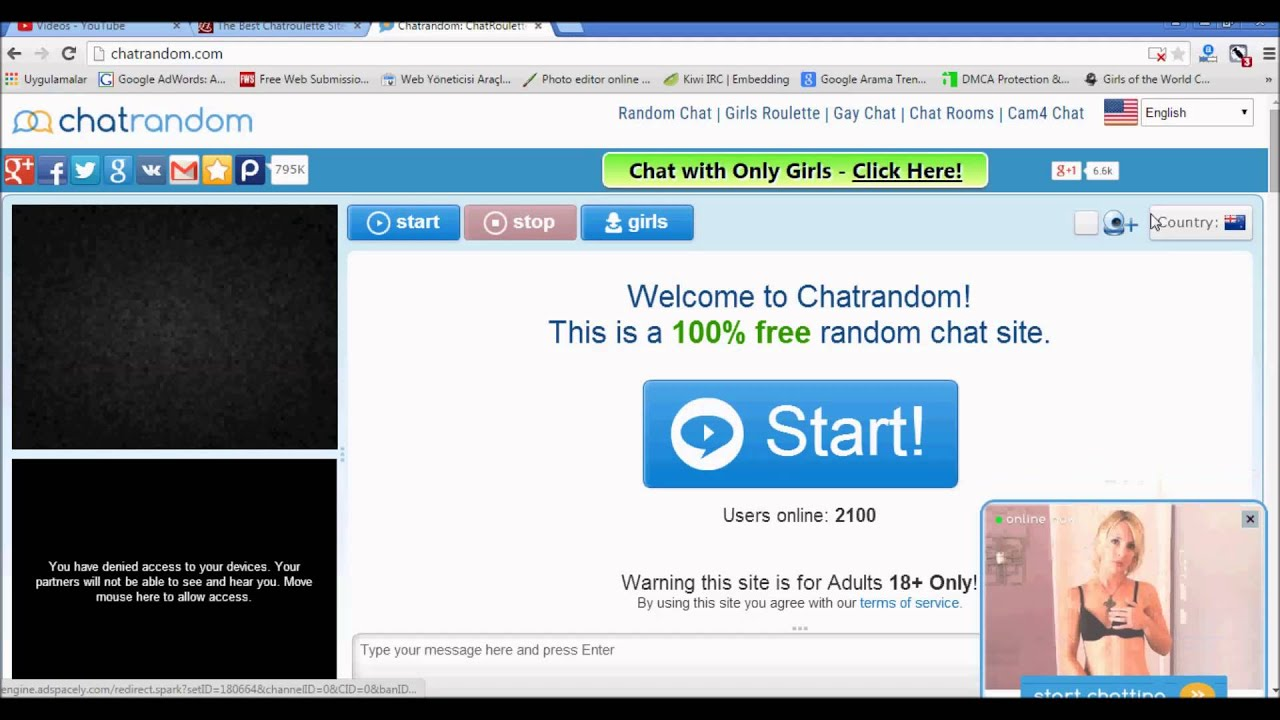Online random chat rooms