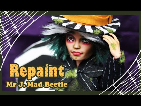 Monster High Repaint - Mr Jack Mad Beetle - Halloween Special OOAK Doll - English Subtitles