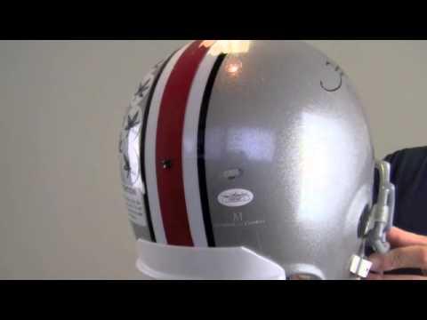 Signed Santonio Holmes Helmet - Ohio State Buckeyes Replica - JSA