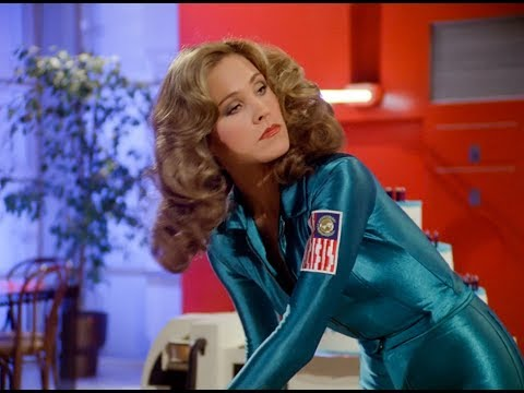 Erin Gray Sexy Bending in Tight Blue Spandex 80's Outfit new HD version