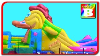 Inflatable Playground BIG DUCK  Fun for Kids! Bouncy Castle Disney with Princess SOFI and Bogdan