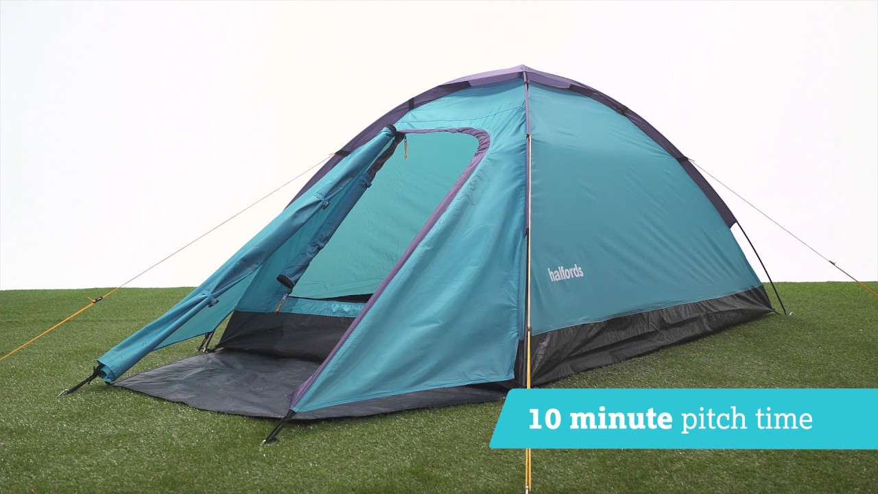 Halfords 2 Person Dome Tent with porch- Light Blue & Halfords 2 Person Dome Tent with porch- Light Blue - YouTube