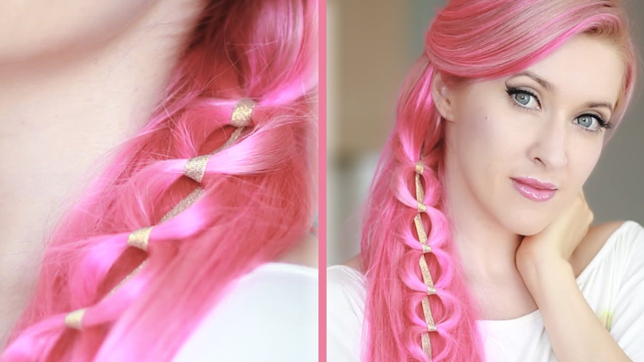 Kawaii hairstyle for long hair Chain braid hair tutorial - YouTube