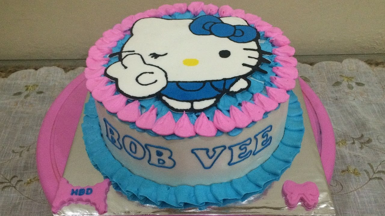 Hello Kitty Cake Peace Pink Blue Buttercream Transfer YouTube