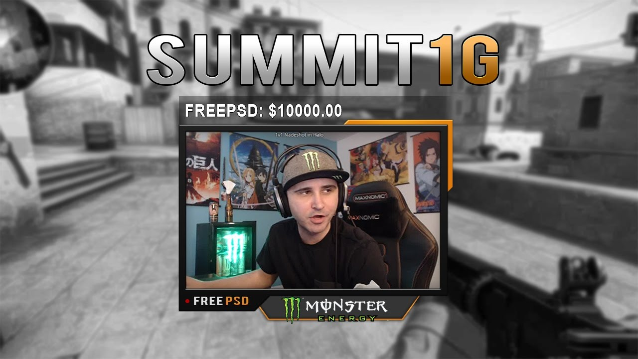 free twitch overlay template - summit1g cam - psd