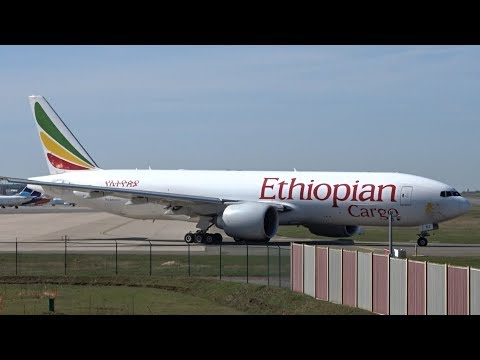 Ethiopian Cargo 777F - Takeoff at Liège Airport